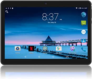 YELLYOUTH Android Tablet 10 inch with Sim Card Slots 4GB RAM 64GB ROM Octa Core 3G Unlocked GSM Phone Tablet PC Built in WiFi Bluetooth GPS (Black)
