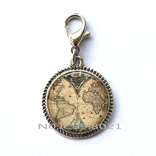 maoqunza Glass Ancient World Map Zipper Pull Handmade explorer Unique Zipper Pull Antique Map Zipper Pull Pirate treasure map Expedition Explore glass Unique Zipper Pull.XT208 (A) - Explorer Zipper Pulls