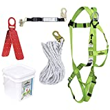 "PeakWorks V8257042 - Roofers Fall Protecton Kit - Reusable Bracket - 2"" (0.6 m) SP Lanyard - Integral ADP Rope Grab - 25' (7.6 m)"