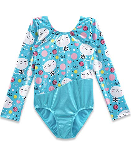 CEMXX Gymnastics Leotards for Girls Long Sleeve Sparkly Pink Cartoon Cat Flower Prints Biketards Dance Ballet Clothing -