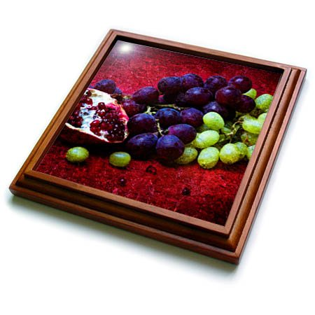 3dRose trv_270468_1 Half of Pomegranate Green Grapes, Red Background Trivet with Tile, 8 by 8''