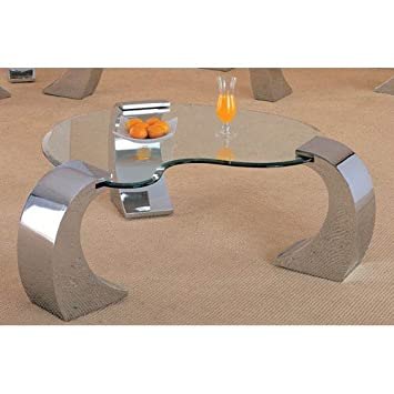 Coaster 720058-CO Custer 45 Contemporary Metal Coffee Table with Round Glass Top