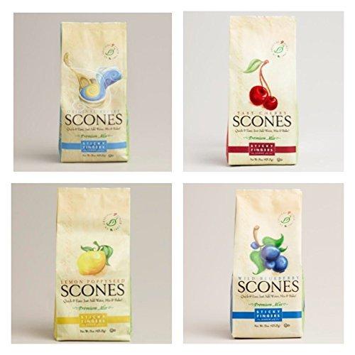 Cherry Scone Mix (Sticky Fingers Scone Mix Variety Pack of 4 (Original, Wild Blueberry, Tart Cherry, and Lemon Poppy Seed) 15 Oz. Each)