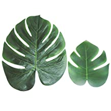 Tinksky 12pcs Tropical Palm Leaves for Hawaiian Luau Party Decoration Supplies and Favors (M Size)