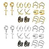 POSTWAVE 14 Pairs Stainless Steel Ear Clips Non Piercing Earrings Hoop Ear Cuffs Cartilage Ear Clips Set for Men Women, 7 Various Styles