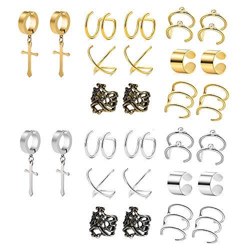 POSTWAVE 14 Pairs Stainless Steel Ear Clips Non Piercing Earrings Hoop Ear Cuffs Cartilage Ear Clips Set for Men Women, 7 Various Styles by POSTWAVE
