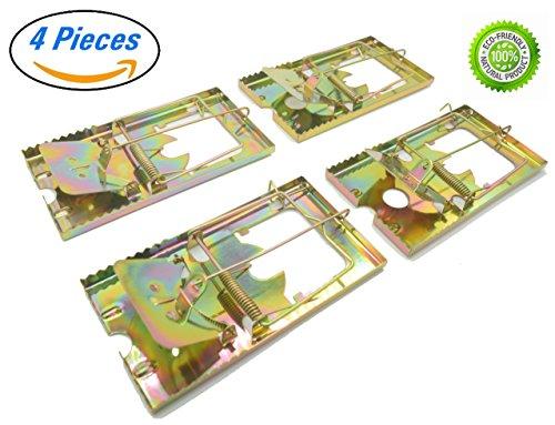 PTCLTRAPS Metal Rat Trap - Durable Reusable Design - Snap Trap for Rats (4) by PTCLTRAPS
