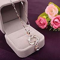 Phetmanee Shop Mujeres golpe corazón colgante collar cristal acero inoxidable moda regalos