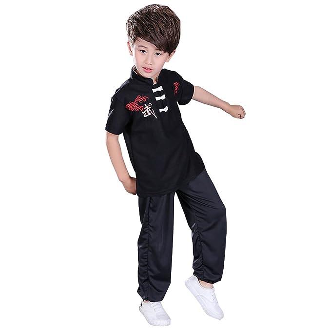 BOZEVON Unisex Niños Tang Traje de Artes Marciales Kung Fu ...