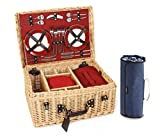 Greenfield Collection Blenheim Willow Picnic Hamper for Four People with Midnight Blue Picnic Blanket