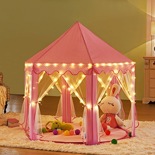 kids pink princess castle playhouse uth tent hexagon play import it all. Black Bedroom Furniture Sets. Home Design Ideas