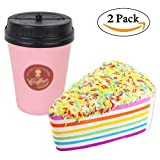 (US) 2PC Squishy Slow Rising Rainbow Cake and Coffee Cup Toy, Stress Relief Toy Doll Gift Fun for Baby by Bagvhandbagro [2PC]