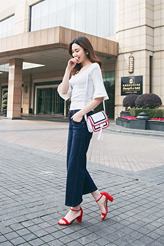 Dedo Verano Tacón Coreano Femenina Sandalias Palabra Grueso Con Alto De Trenza Xiaoqi Abierto Hebilla Rojo PU1Uw5zZWn