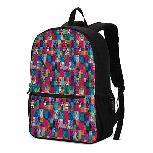 Geometric Fashional Backpack,Fashion Themed Italian Grunge Modern Color Contrast Squares with Dots Artwork for School Travel,12.2