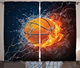 Ambesonne Sports Decor Collection, Basketball Ball on Fire and Water Flame Splashing Thunder Lightning Image, Living Room Bedroom Curtain 2 Panels Set, 108 X 90 Inches, Navy Blue Orange White Review
