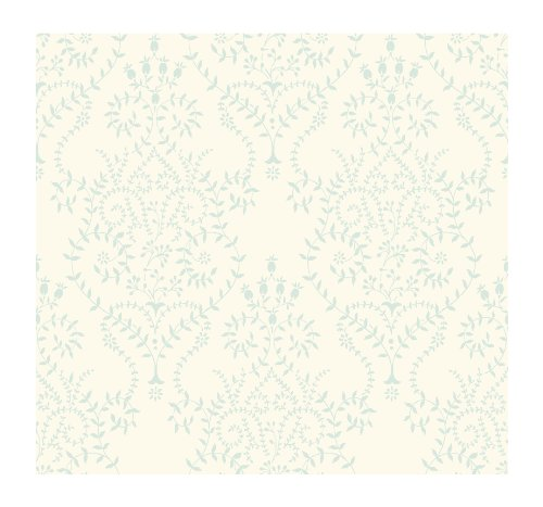 Ivory Leaf Scroll Wallpaper - York Wallcoverings BD9164SMP Damask Resource Delicate Leaf Scroll 8 x 10 Wallpaper Memo Sample, Ivory/Light Blue