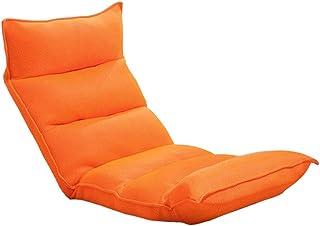 Dosseret Chaises Pliable Chaise de Plancher Méditation Paresseux Salon Canapé Petit Gaming Couch Grid (Orange)