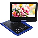 DBPOWER 9.5 Inch Portable DVD Player with Rechargeable Battery, SD Card Slot and USB Port - Blue