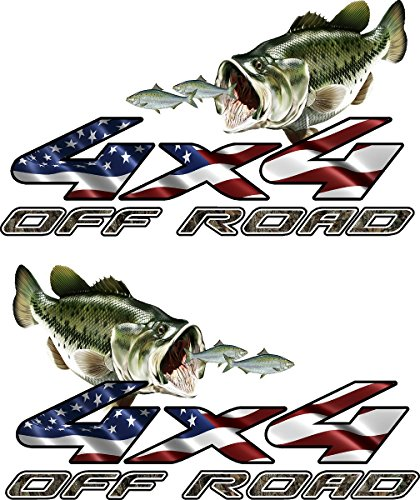 (avgrafx 4x4 Truck Offroad Decal Cast Vinyl Camo American Flag Bass Chasing Shad Laminated 13x7.50 Inches )