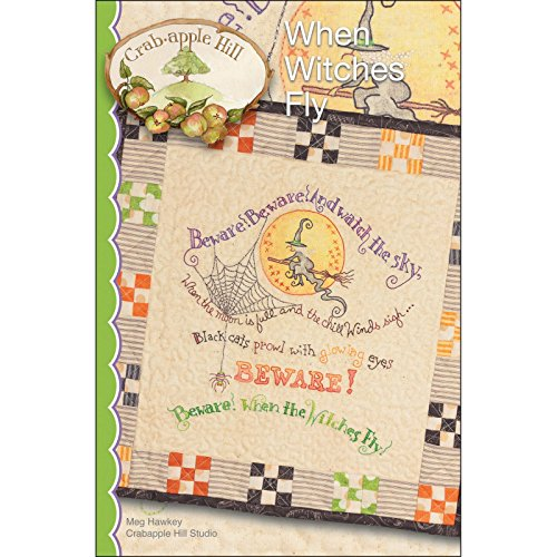 When Witches Fly Embroidery Pattern by Meg Hawkey From Crabapple Hill Studio -