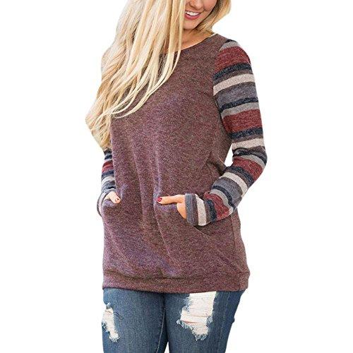 IEason Women Blouse Women O-Neck Long Sleeve Sweatshirt Pullover Pocket Tops Blouse Shirt (S, Red)