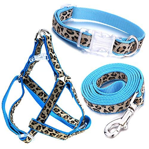 Leopard Leash - Mile High Life Dog Collar, Harness and Leash | Blue Leopard Design | Extra Small| Perfect Accessory for Walking Your Dog