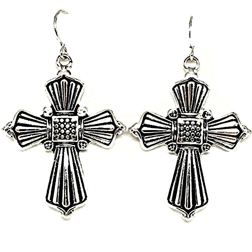 Fashion Leader Religious Antiqued Silver Color Dangle Cross Earrings by Fashion Leader