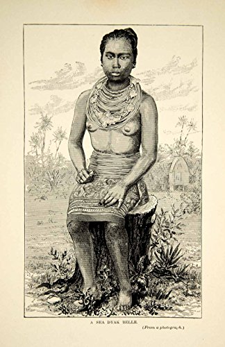 Iban Costume (1910 Wood Engraving Sea Dyak Iban Woman Costume Indigenous People Borneo TYJ1 - Original Wood)