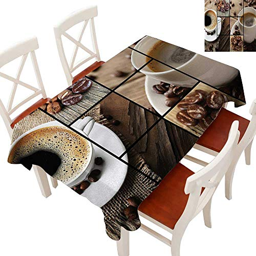 WinfreyDecor Tablecloth Heavy Weight for Kitchen Dinning Tabletop Decoration Coffee Themed Collage Close Up Mugs Beans on Wooden Table Aromatic Roasted Espresso Drink Brown 60