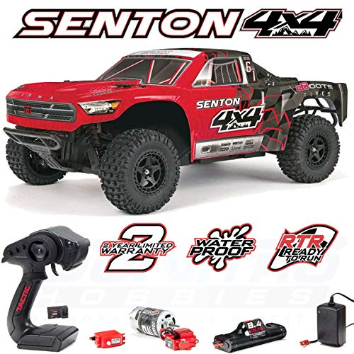 ARRMA SENTON 4x4 MEGA 4WD RC Short Course Truck RTR with 2.4GHz Radio | 7C 2400mAH NiMH Battery | Charger | 1:10 Scale (Red/Black)