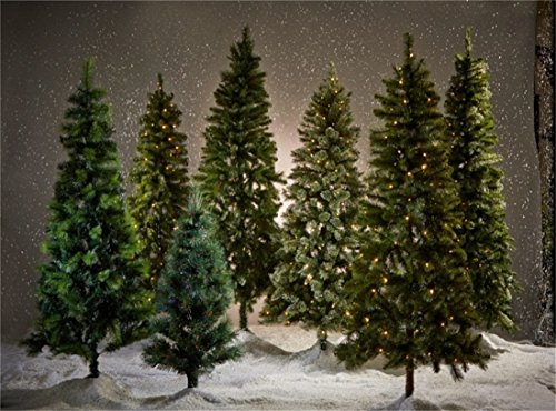 Leowefowa 9X6FT Vinyl Photography Backdrop Christmas Pine Tree Snowing Shining Lights Nature Winter Happy New Year Background Kids Children Adults Photo Studio Props
