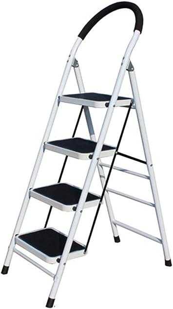 C-J-Xin Las escaleras de pedales antideslizantes, cuatro pasos de tijera de metal resistente al desgaste Barandilla de escalera Almacén/hotel/patio Escalera/rojo, blanco Escalera de casa: Amazon.es: Bricolaje y herramientas