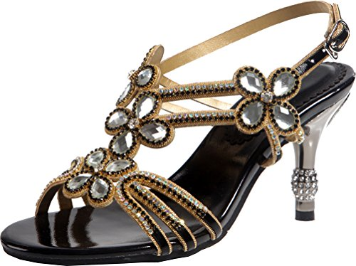 Salabobo Womens Glaring Beautiful Pretty Heels Stilettos Sexy Rhinestone Sandals ZX-L006 Black UK2 fdmd0t