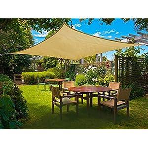 Sunnylaxx Vela de Sombra Cuadrado 2 x 2 Metros, toldo Resistente y Transpirable, para Exteriores, jardín, Color Arena
