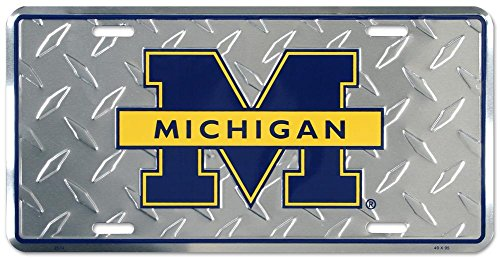 University of Michigan Diamond License Plate Tin Sign 6 x 12in (University Of Accessories Michigan)