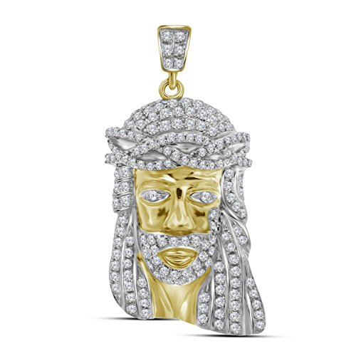 Roy Rose Jewelry 10K Yellow Gold Mens Round Diamond Jesus Christ Head Messiah Charm Pendant 3/4-Carat ()