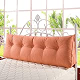 Vercart Sofa Bed Large Soft Upholstered Headboard Filled Triangular Wedge Cushion Bed Backrest Positioning Support Reading Pillow Office Lumbar Pad with Removable Cover 59x8x12Inches Linen Orange