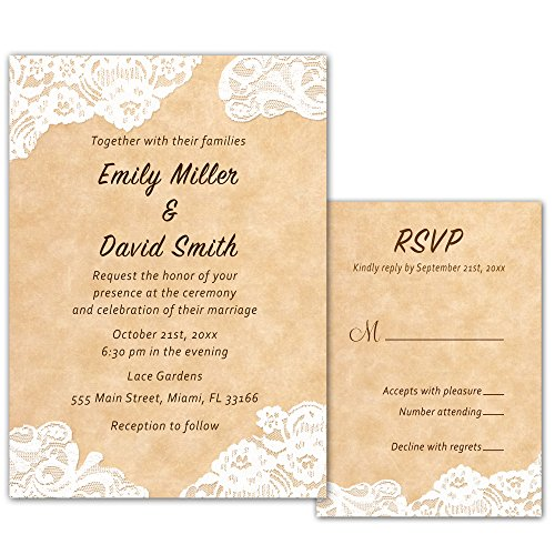 100 Wedding Invitations Rustic Country Style Lace Design + Envelopes + Response Cards Set (Wedding Invitations Country Style)