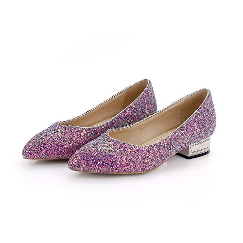 On Heels Shoes Womens AmoonyFashion Toe Pull Pumps Purple Closed Pointed Assorted Color Low Y6ICq
