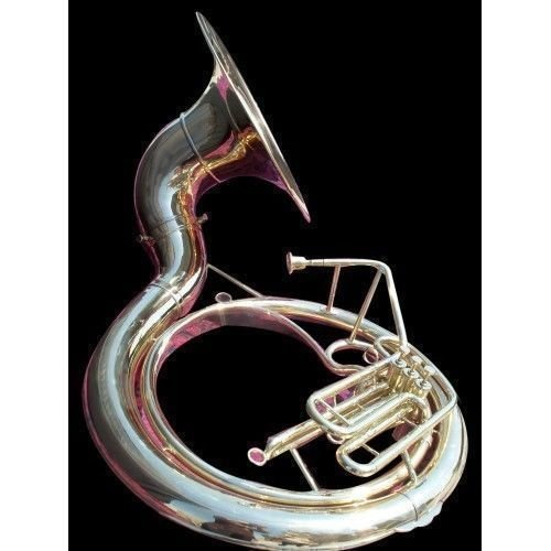 INDIAN HANDMADE CHROME FINISH SOUSAPHONE BRASS MADE TUBA MOUTH PIECE WITH CARRY BAG 25'' by IM