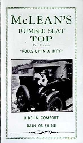 FORD'S McLEAN RUMBLE SEAT TOP SALES BROCHURE WITH ORDERING INSTRUCTIONS