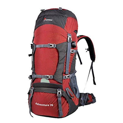 Mountaintop 70L Outdoor Hiking Climbing Backpack M5805 Shoulder Waterproof Mountaineering Bag Trekking Travel Rucksack (Red)