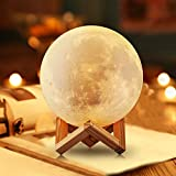 SHENGHUI 3D Printing Moon Lamp, Touch Control Lunar Night Light,USB Rechargable, Dimmable, Yellow and White LED, Decorative Light with Wood Stand, Diameter 4.7''/12cm