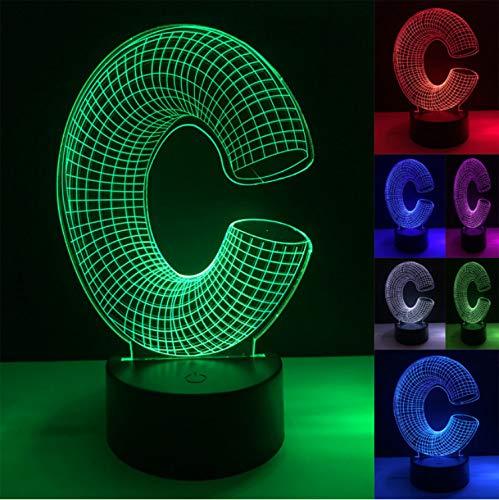Luz de la noche Letra C Carta de la luz 7 Mesa de colores Luz de ...