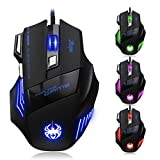 GranVela® T80 Professional LED Optical 7200 DPI 7 Button USB Wired Gaming Mouse Mice for Pro Gamer (Black)