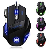 GranVela® Zelotes T80 Professional LED Optical 7200 DPI 7 Button USB Wired Gaming Mouse Mice for Pro Gamer (Black)