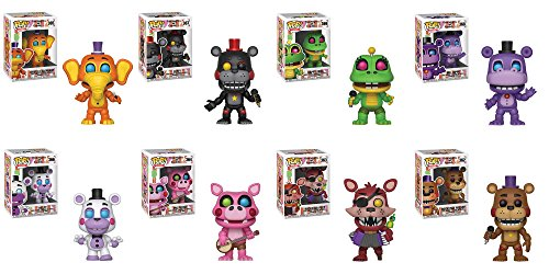 Five Nights at Freddy's: Pizza Simulator Orville Elephant, Happy Frog, Lefty, Rockstar Foxy, Rockstar Freddy, Pigpatch, Helpy, And Mr. Hippo Pop! Vinyl Figures And Keychain Set Of 8