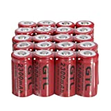 20pcs GTL 16340 3.7V 2300mAh Rechargeable Lithium Batteries Red