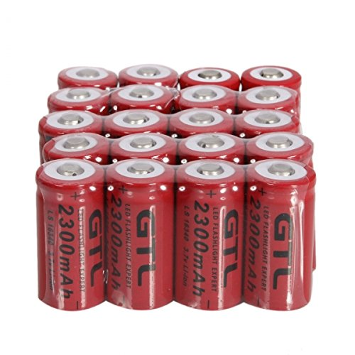 20pcs GTL 16340 3.7V 2300mAh Rechargeable Lithium Batteries Red by GTL