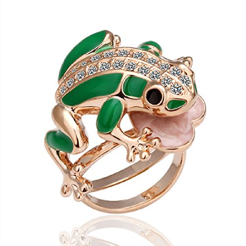 Tree Frog Ring - Cy-buity Rose Gold Plated Ring Green Frog Green Ring Size 8